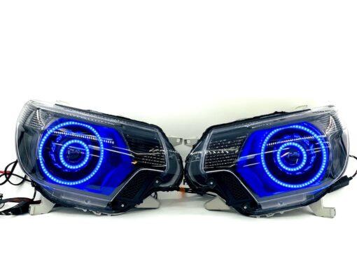 12-15 Toyota Tacoma Triple Halos RGBW LED Headlights Projector Lamps