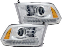 2013-2018 RAM 1500 Projector Headlights LED DRL Chrome
