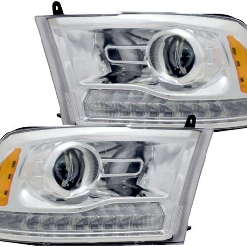 2013-2018 RAM 1500 Projector Headlights LED DRL Chrome