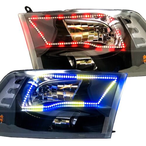2009-2018 Dodge RAM 1500 2500 3500 Black LED Halo Headlights