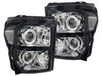 2011-2016 Ford F-250 F-350 Black Chrome Headlights LED Halo Retrofit