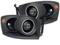 06-09 Dodge RAM Black Projector Headlights with RGB Halos