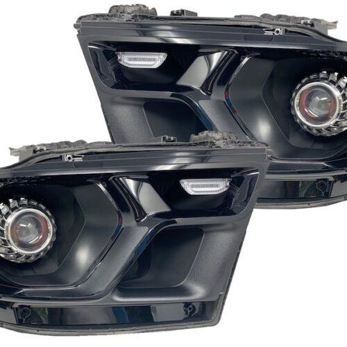 2019+ 5th Gen Ram RGBW Led Halo Replacement Black Headlights