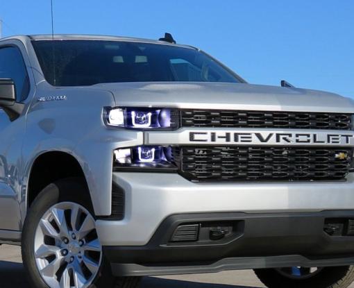 2019 Chevrolet Silverado LED Halo Headlights Custom Black