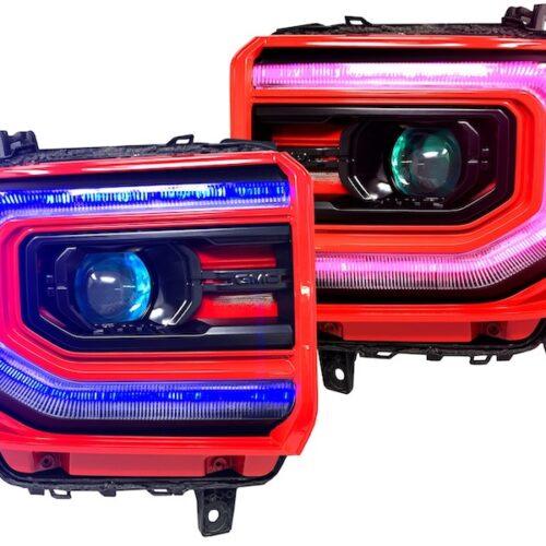 2016-2018 GMC Sierra Custom RGBW led DRLS with Demon Eyes Projector Headlights