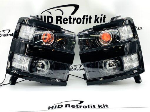2015-2019 Chevrolet Silverado 2500 3500 Black Custom Headlights LED DEMON EYES