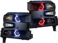 2019+ Silverado 1500 RGBW LED Headlights Black Projectors
