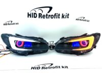 2014-2017 Subaru STI RGBW Led Halo Black Retrofit Headlights