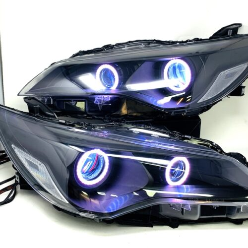 15-17 Toyota Camry RGBW Chasing LED Halo Black Projector Headlights