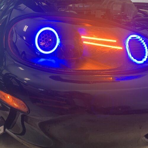 1999-2000 Mazda Miata MX-5 RGBW LED Halo Projector Retrofit Color-Shift Headlights